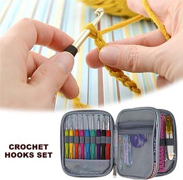 Ritapreaty DIY Crochet Hooks Set Viaje Organizador de Viaje Bolsa de Almacenamiento Kit de Aguja de Tejer con Mangos ergonómicos para Agujas de Tejer: Amazon.es: Hogar