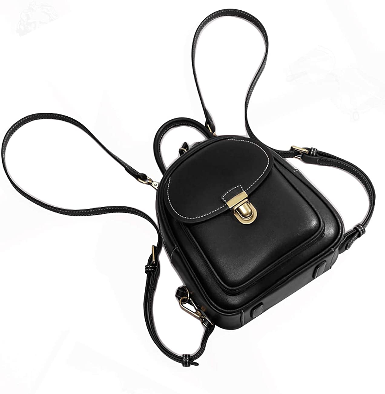 LAORENTOU Women Genuine Leather Mini Backpack Convertable Straps Daypack