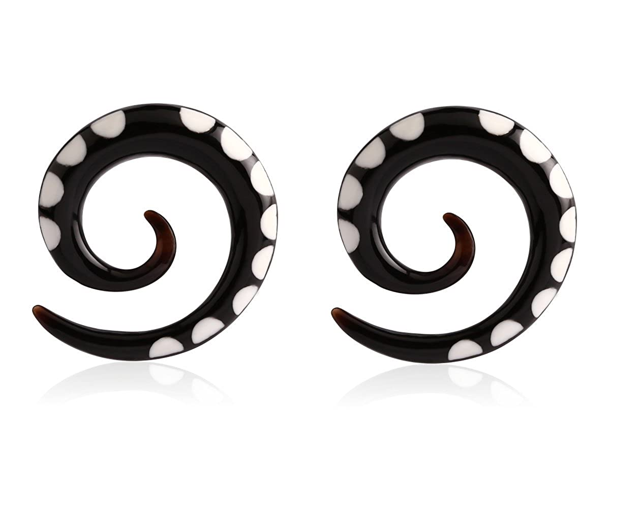Holy Plug Body Piercing Jewelry Pair of 2 Painted Horn Ear Spiral 000g 0000g 6g 2g 0g