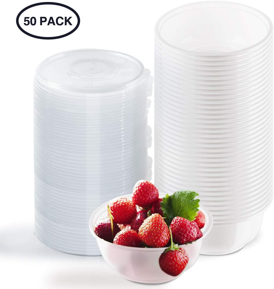 Aitsite Cuencos Desechables de plástico de 450 ml, 50 Paquetes de vajilla irrompible con Tapa Caja de Comida rápida | Reutilizable para Fiestas al Aire Libre Picnics BBQ´s Travels (Tazón desechable)