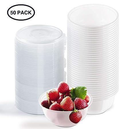 Aitsite Cuencos Desechables de plástico de 450 ml, 50 Paquetes de vajilla irrompible con Tapa Caja de Comida rápida | Reutilizable para Fiestas al ...