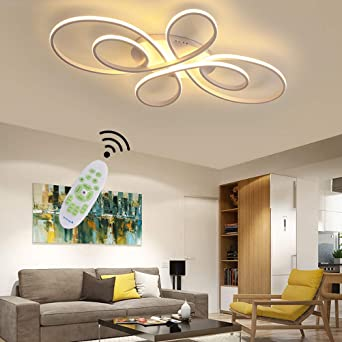 Lámpara de techo para salón de color blanco LED Moderna Regulable Mesa de comedor Dormitorio Decor lámpara con mando a distancia diseño de acrílico pantalla colgante para cocina baño Blanco L80cm: Amazon.es:
