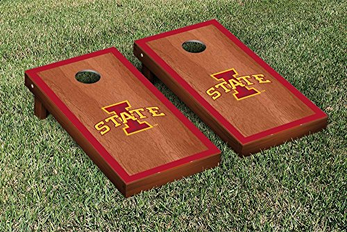NCAA Iowa State Cyclones Rosewood Stained Border Version Cornhole by Victory Tailgate