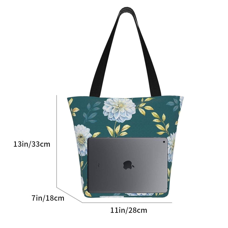 Vit blomma kvinnor stor storlek kanvas axelväska hobo crossbody handväska ledig bärkasse Vit blomma
