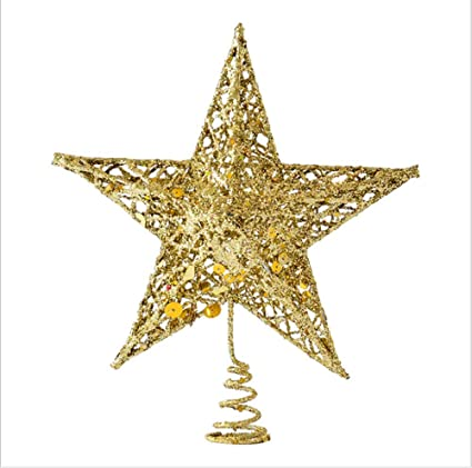 sricam christmas tree topper 78 wire gold tree star for chirstmas decoration