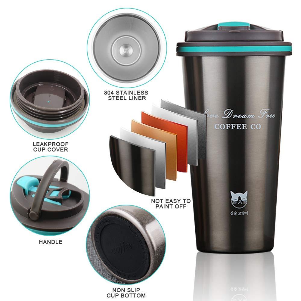 Taza de Viaje Sin BPA Antigoteo T/érmica de Doble Pared FAGORY Termo de Caf/é Port/átil Termo Taza Frasco de Vac/ío de Acero Inoxidable Aislado al Vac/ío Taza de t/é Reutilizable 500ML