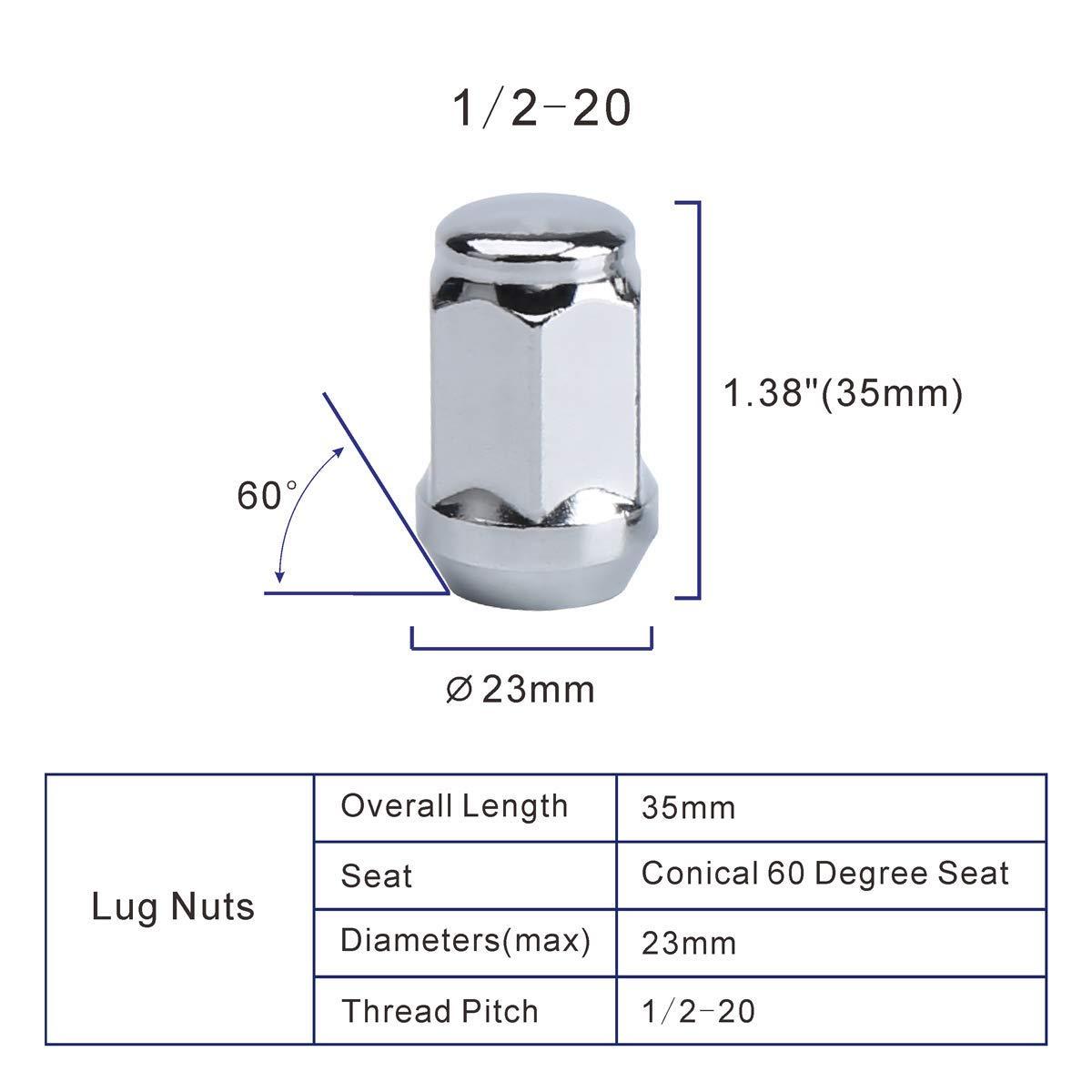 KSP 23pcs Chrome 1//2 Closed End Bulge Cone Seat 1.38 Tall 3//4 Lug Nut For 5 Lugs Aftermarket Wheels 1 Year Warranty 1//2-20 Wheel Lug Nuts