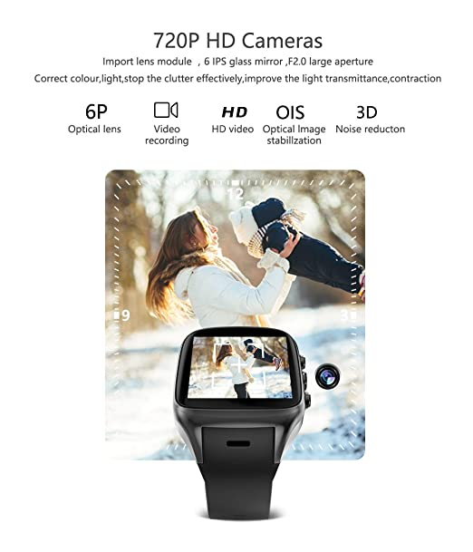 Amazon.com: TORTOYO X02S Smart Watch Phone Android 5.1 OS Bluetooth WIFI GPS Camera 512MB+8GB Sports Heart Rate Business Smartwatch PK X01S (Black): Cell ...