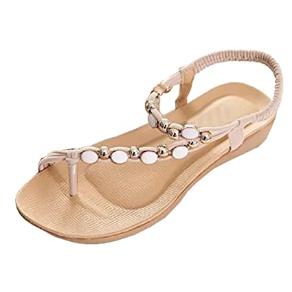 36078e9658f9f8 Women Sandals Todaies❤Women Flat Shoes Beaded Bohemia Leisure Sandals Peep-