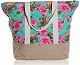 "Beach Bag By Pier 17 - Tote Bag For The Beach, Roomy 20''x18''x6"", Zipper Closure (Flower)"