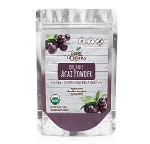 Super Organics Acai Fruit Powder | Brazilian Superfood | Antioxidants – Vegan & Non-GMO, 4 Oz
