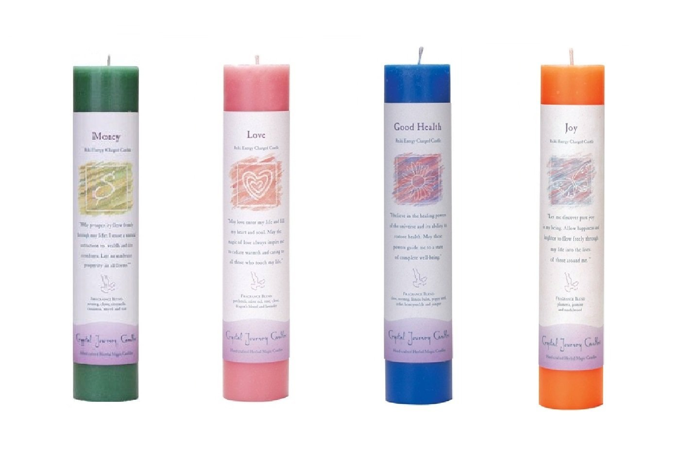 Crystal Journey Reiki Charged Herbal Magic Pillar Candle with Inspirational Labels - Bundle of 4 (Money, Love, Good Health, Joy) Each 7''x1.5'' handcrafted with lead-free materials