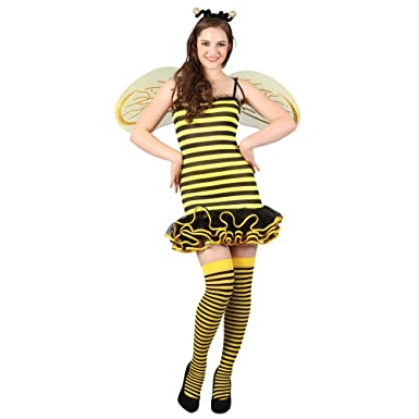 Ladies Bumble Bee Fancy Dress Costume Halloween Party Outfit Antennae /& Wings