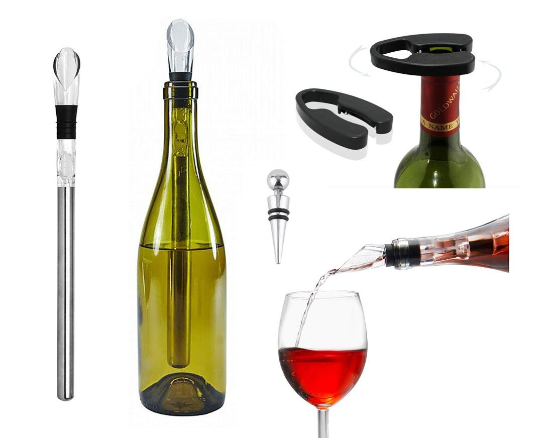 3 in 1 Stainless Steel Wine Chiller Stick With Aerator and Pourer Foil Cutter Stopper Set 3 Pieces For Red Wine White Wine Champagne Gift