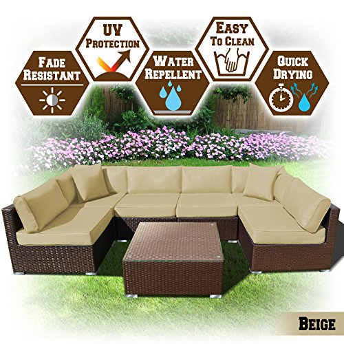 BenefitUSA 7 PC Rattan Wicker Patio Set Outdoor Sectional Sofa Furniture Set With Cushion (Charcoal)