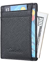 RFID Front Pocket Minimalist Slim Wallet Genuine Leather Small Size