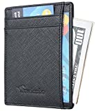 Travelambo RFID Front Pocket Minimalist Slim Wallet Genuine Leather Small Size (Crosshatch black)