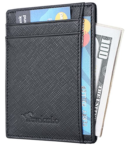 Travelambo RFID Front Pocket Wallet Minimalist Wallet Slim Wallet Genuine Leather (Crosshatch Black)