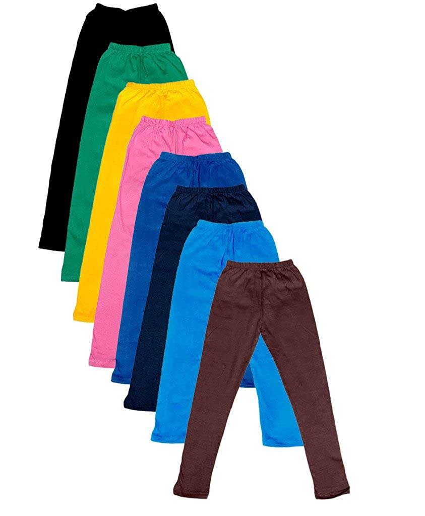 Indistar Little Girls Cotton Full Ankle Length Solid Leggings Pack of 8 -Multiple Colors-1-3 Years