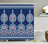 Moroccan Shower Curtain by Ambesonne, Bohemian Style Old Middle Eastern Turkish Figures Mystical Ornamental Image Print, Fabric Bathroom Decor Set with Hooks, 70 Inches, Teal and Royal Blue