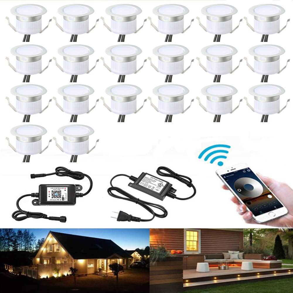 WiFi Deck Lights Kit, FVTLED 20pcs Low Voltage LED Step Lights Φ1.22'' Waterproof Outdoor Recessed Stair Warm White Lights Work with Echo Alexa Google Home IFTTT, Pearl Chrome