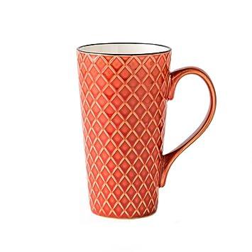 Yomiokla taza de agua de cerámica europea taza de la taza de café simple de oficina Copa de avena de cristal taza de té taza de desayuno leche roja 480ml: ...
