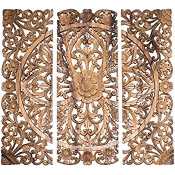 3 Wood decorative wall panels hand carved floral.
