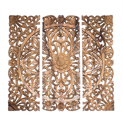 Balinese Headboard. 3 Wood decorative wall panels hand carved floral.
