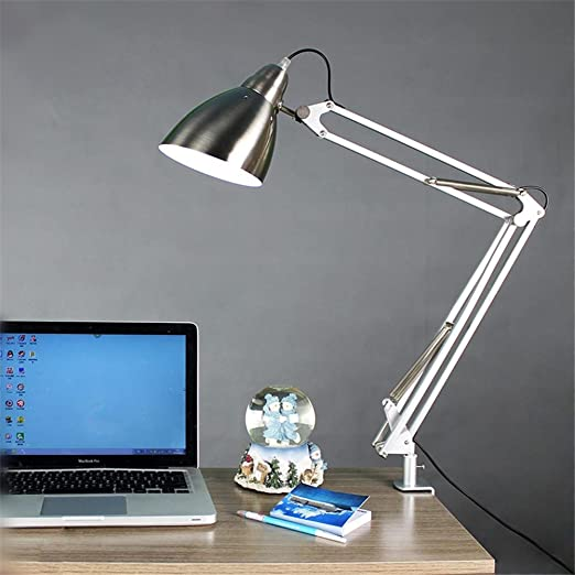Modern led desk lamp metal swing arm clip on large table lamp for office bedroom study