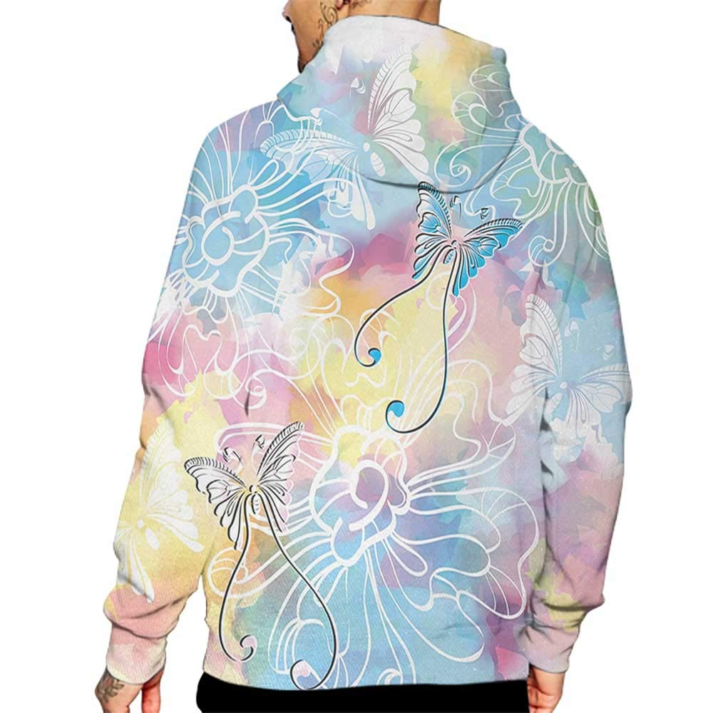 Hoodies Sweatshirt/Men 3D Print Colorful,Romantic Brushstroked Backdrop with Haze Blur Splash Features and Moth Antler,Multicolor Sweatshirts for Teen Girls