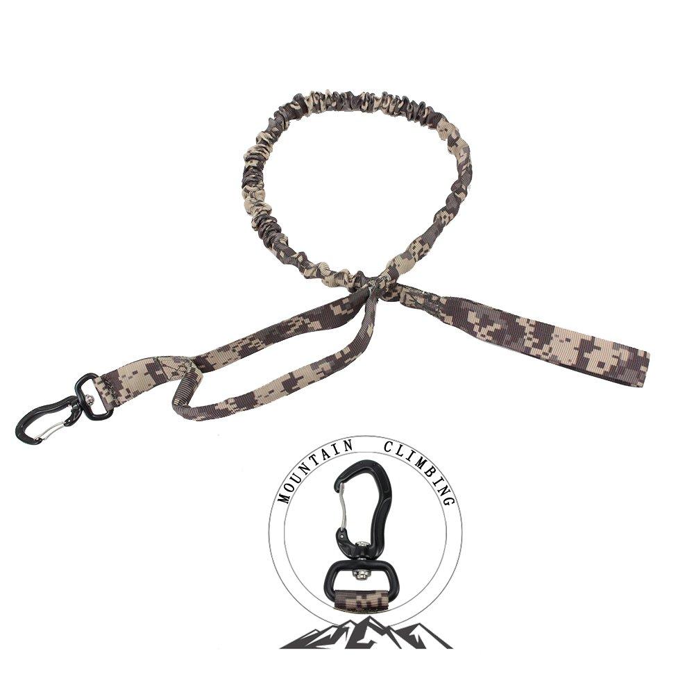 PSKOOK Bungee Dog Leash Tactical Control Training Lead Zero Shock Handle Heavy Duty Shock Absorbing Adjustable Nylon Rope Medium Large Dogs/Pets 41'' to 54'' (ACU Camo)