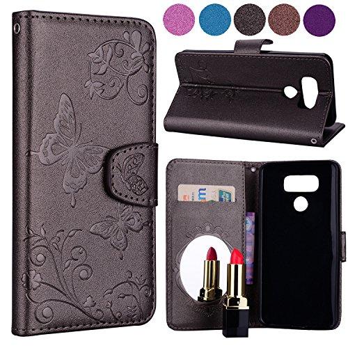 LG G6funda tipo portafolios de diseño elegante, flores y mariposas trasera oculta espejo con tapa tipo portafolios de piel...