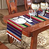 KSPOWWIN Mexican Serape Table Runner 14 x 84 inch for Mexican Party Wedding Decorations, Fringe Cotton Blanket Table Runner