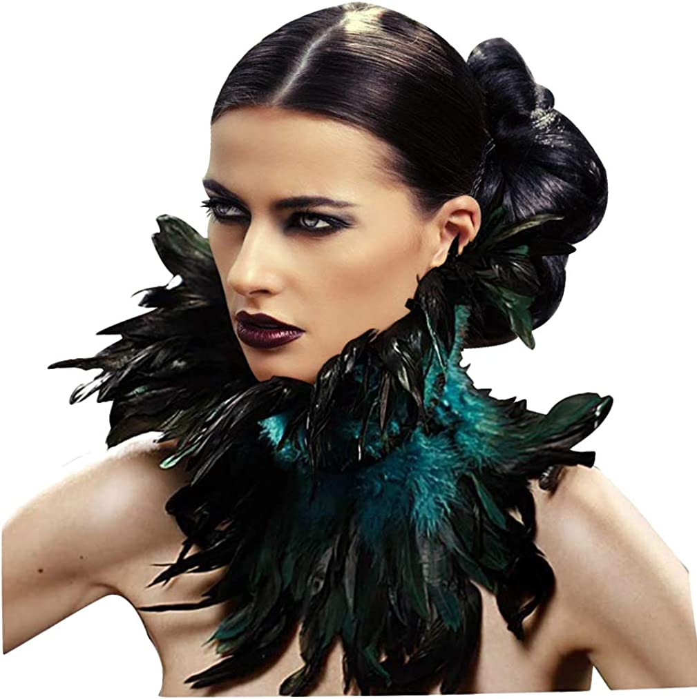 Black feather choker necklace with rhinestones  Goth crystal choker  Alternative Wedding jewelry  black feather collar  costume collar