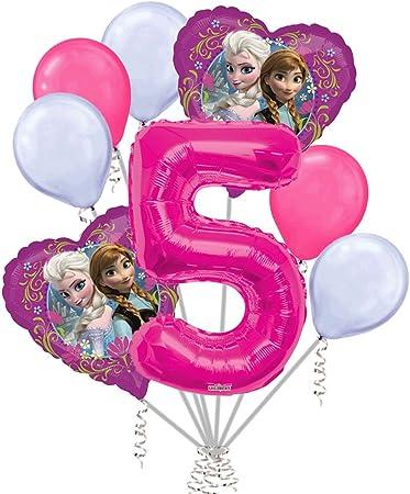 Amazon.com: 8 pc Disney Frozen Globo de corazón ramo 5th ...