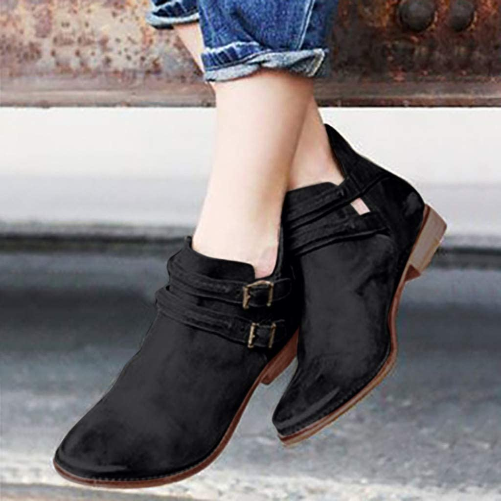 Midress Womens Rome Style Solid Color Flat Boots Shoes Large Size Buckle Faux Leather Short Boots Cut Out Ankle Booties Shoes