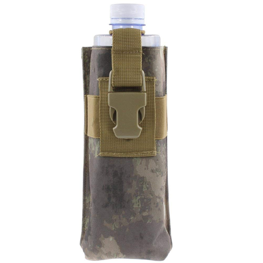 QJiang Impermeable policía táctica Militar Caza Walkie Talkie 600D Mlle Radio Kettle Bolsa Bolsa Botella de Agua Holder H2O hidratación Carrier Gear Waist Back Pack (Camuflaje terrestre)