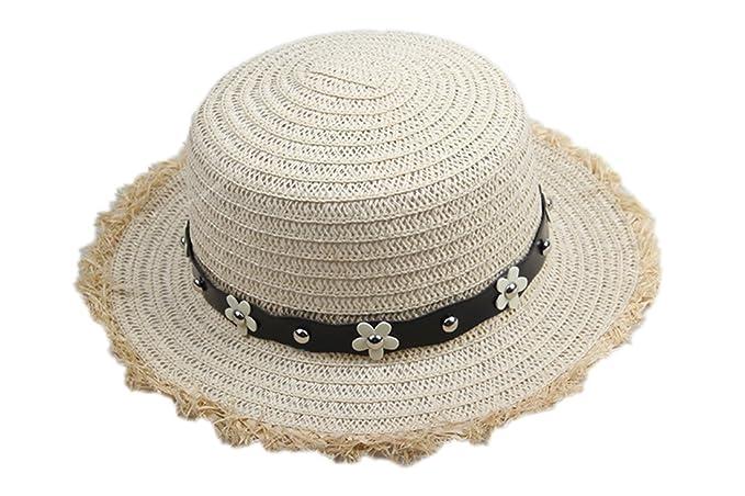 Dantiya-moda donna estate paglia sppiaggia cappelli da sole di paglia con  fiori (marrone 2246d42fd891