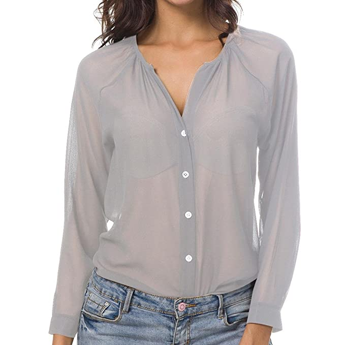 gut beste Angebote für näher an TUDUZ Damen Bluse Chiffon V-Ausschnitt Henley Shirt Casual Langarm  Transparent Tunika Hemd Oberteile mit Taste