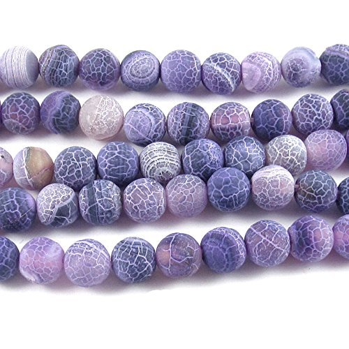 Lavender & Purple 8mm Frosted Crackle Dragon Vein Agate Gemstone Beads (48 Pcs)