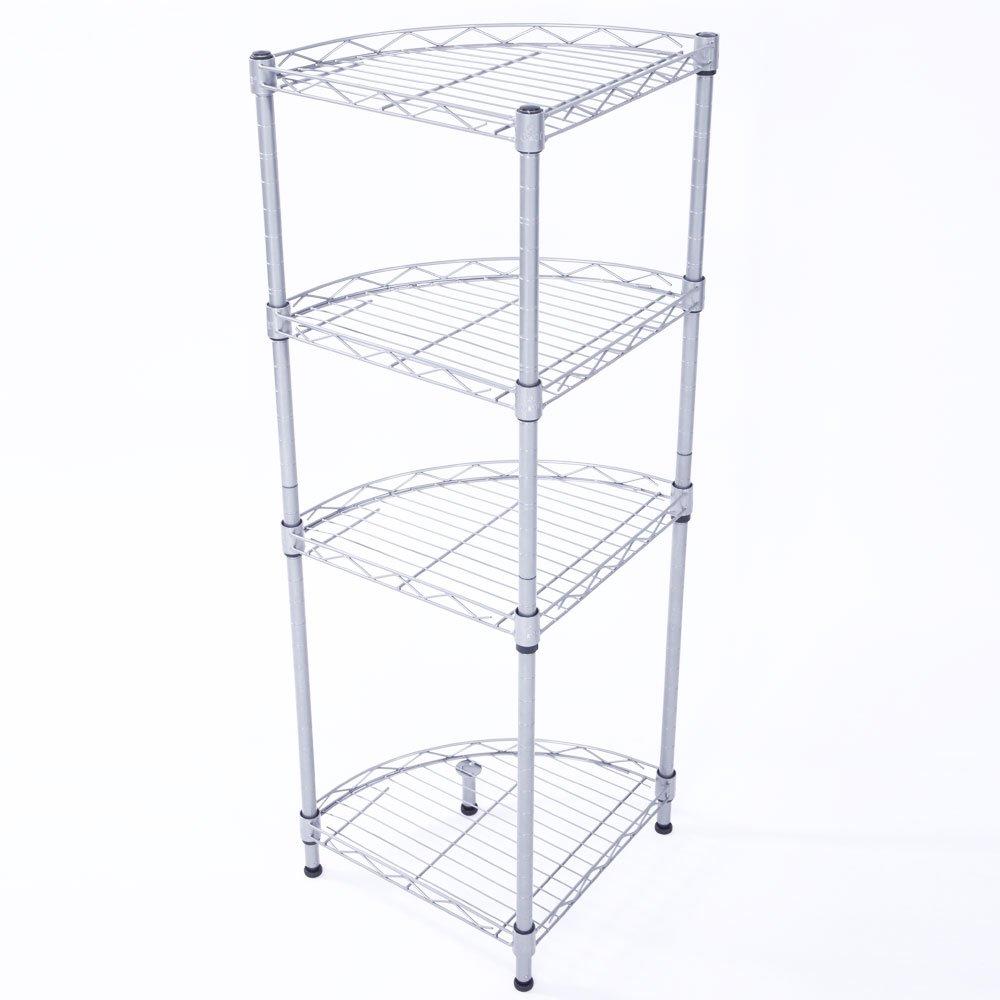 Lykos Fan-shaped Carbon Steel Metal Assembly 4-Tier Storage Rack Silver Gray