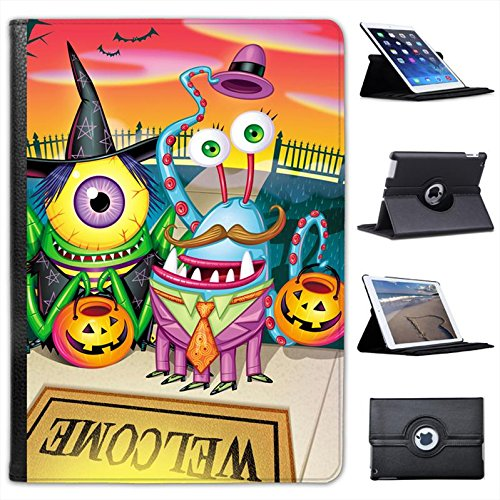 Halloween Trick or Treat Monsters on Welcome Mat For Apple iPad Air 2 [2014 Version] Faux Leather Folio Presenter Case Cover Bag with Stand Capability