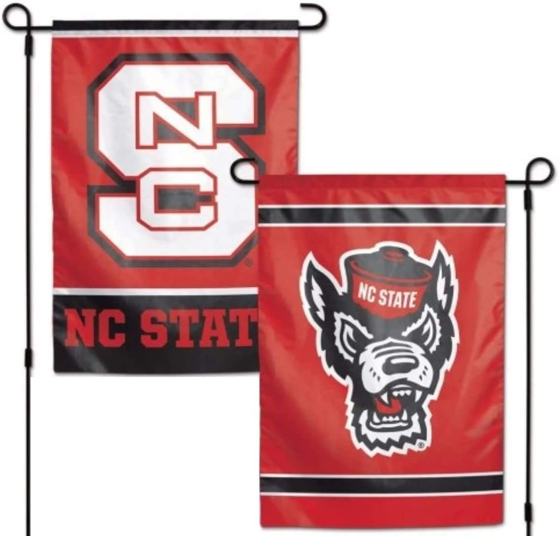 "North Carolina State Wolfpack 12.5"" x 18"" Double Sided Yard and Garden College Banner Flag is Printed in The USA,"