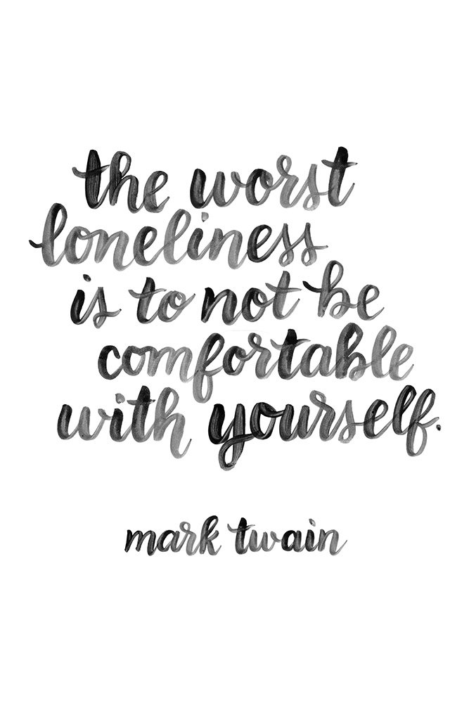 Faim Posters Italian Paper Poster Of Quotes Loneliness By Mark Twain Frameless 18x12 Inch Amazon In Home Kitchen