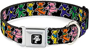 Buckle-Down Seatbelt Buckle Dog Collar - Dancing Bears Black/Multi Color