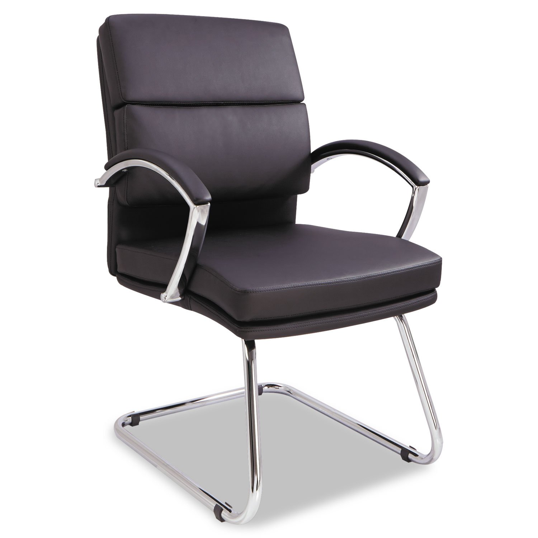 Alera NR4319 Neratoli Series Slim Profile Guest Chair, Black Soft Leather/Chrome Frame by Alera