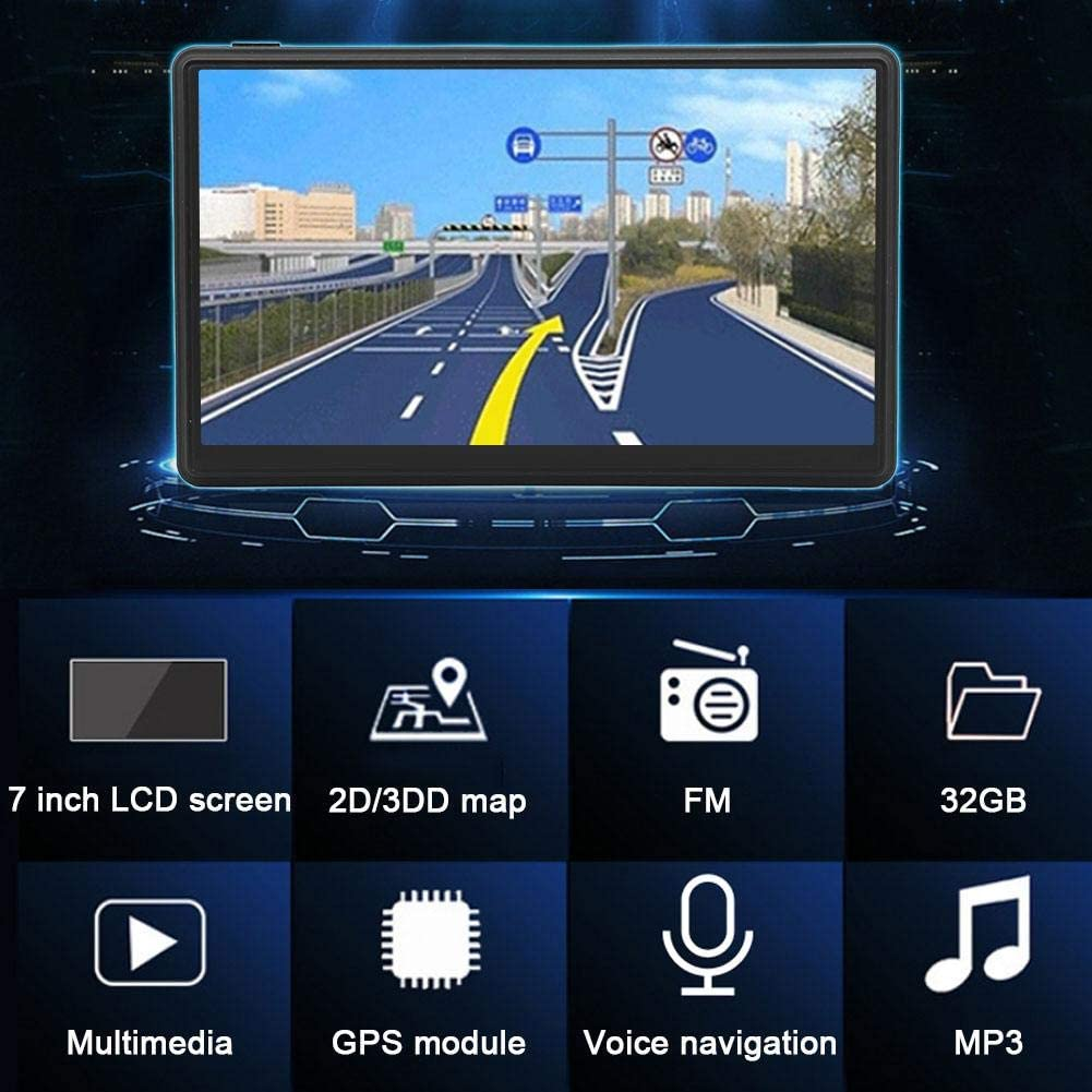 256MB RAM 7inch LCD Screen Car Audio Video Player Monitor Vehicle GPS Navigator Device Voice Traffic Warning 8GB ROM with Dashboard Mount Ciglow GPS Navigation