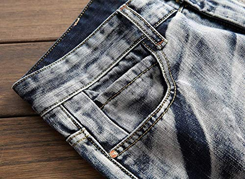 Ocio Fit Bluewhite De Vaqueros Hombres Sin Pretina Clásico Moda Slim Destruidos Los Rectos Chicos De Mezclilla Pantalones De Media Pantalones De Cintura Mezclilla De De Pantalones Pantalones Retro qHZw4zpn1x