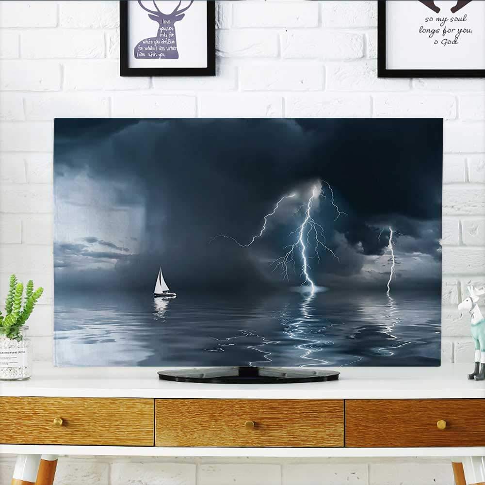 Jiahonghome テレビの保護に グランジスタイル 2レースヨットのイラスト 風の海 水 テレビ W19 x H30 インチ/TV 32インチ W35 x H55 INCH/TV 60