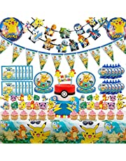 Set of 98 Pcs Pokemons Birthday Party Supplies for Kids and Boys Includes Birthday Cake Decorations Plates Table Cloth